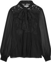 Oscar de la Renta Lace-paneled silk-georgette blouse