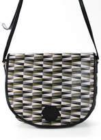 Jonathan Adler Gray Green Black Geometric Leather Shoulder Messenger Handbag