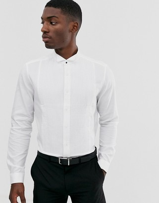 Asos Design DESIGN regular fit textured pleated bib shirt with stud buttons in white