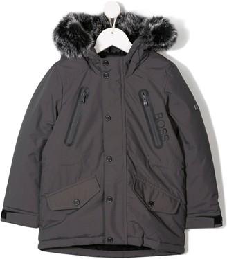 Boss Kids Faux Fur Hood Coat