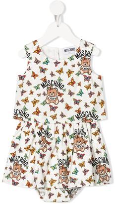 MOSCHINO BAMBINO Butterfly Print Cotton Dress
