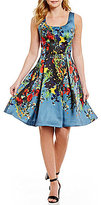 David Meister Floral Printed Fit & Flare Dress