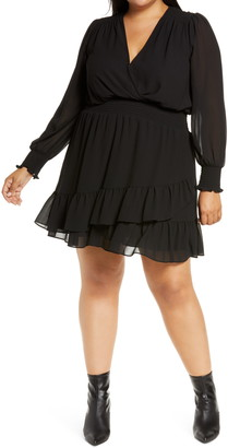 MICHAEL Michael Kors Ruffle Long Sleeve Faux Wrap Dress