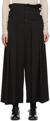 Yohji Yamamoto Black Tuck Wide Trousers