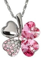 Dahlia Four Leaf Clover Heart Shaped Swarovski Elements Crystal Rhodium Plated Pendant Necklace