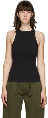 AGOLDE Black Rib High Neck Tank Top