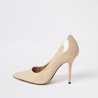 River Island Womens Wide fit Pink pointed toe heeled court shoes