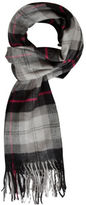 Yours Clothing BadRhino Mens Plus Size Charcoal Check Pattern Scarf Acrylic Warm Wrap