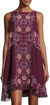Max Studio Floral-Print Sleeveless Chiffon Dress, Currant/Red