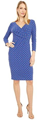 Lauren Ralph Lauren Cleora Long Sleeve Day Dress (Port Blue/Exotic Ruby/Multi) Women's Dress