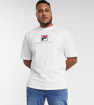 Fila Plus Blade archive logo t-shirt in white exclusive at ASOS