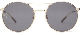 Gucci Aviator Metal Sunglasses - Womens - Grey Gold