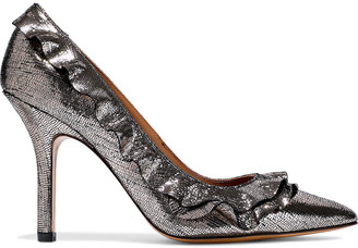 Jerome Dreyfuss Panpan Frou Frou Ruffle-trimmed Metallic Cracked-leather Pumps