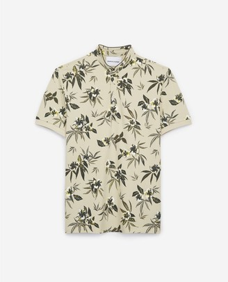 The Kooples Tropical printed cotton polo w/officer collar