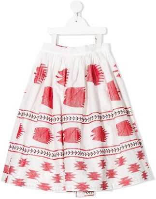 Caffe' D'orzo Pleated Print Skirt
