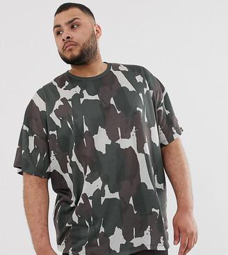Asos Design DESIGN Plus oversized t-shirt with all over camo print-Multi
