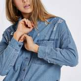 River Island Womens Blue jewel embellished distressed denim shirt