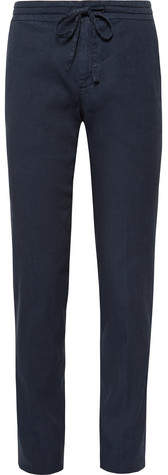 Loro Piana Slim-Fit Stretch Linen and Cotton-Blend Drawstring Trousers - Navy