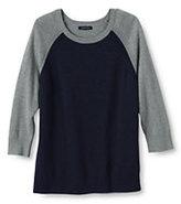 Classic Women's Cotton Modal Pointelle Shoulder Sweater-True Navy