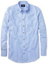 Charles Tyrwhitt Classic Fit Non-Iron Poplin Sky Blue Stripe Cotton Casual Shirt Single Cuff Size XXL