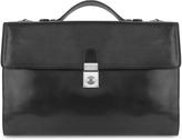 L.a.p.a. Men's Black Italian Leather Portfolio Briefcase