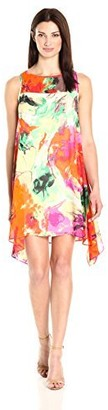 Robbie Bee Women's Floral Printed Chiffon Trapeze Dress with Illusion Neck