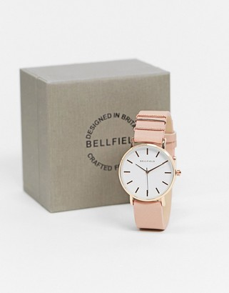 Bellfield pink strap watch with white dial in rose gold