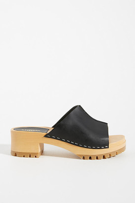 Swedish Hasbeens Ann Heeled Clogs By in Black Size 38