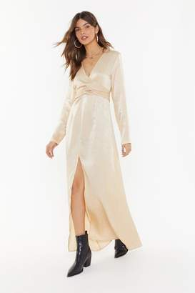 Nasty Gal Womens How About Bow Satin Maxi Dress - white - 12