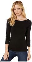 XCVI Essentials Minim 1x1 Rib Long Sleeve Wide Neck Tee (Black) Women's T Shirt