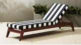 CB2 Filaki Lounger With Black And White Stripe Cushion