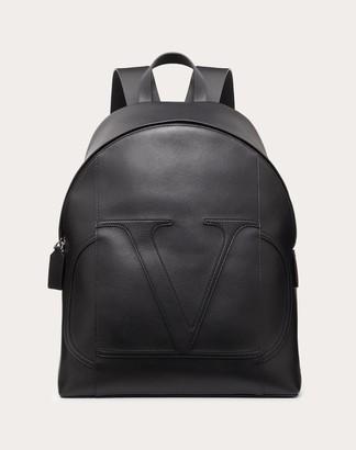 Valentino Garavani Uomo Vlogo Calfskin Backpack Man Black 100% Pelle Di Vitello - Bos Taurus OneSize