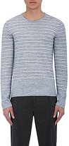 Vince Men's Sporty Jaspe Striped Cotton-Blend Sweater-LIGHT BLUE