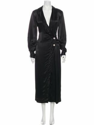 Ganni V-Neck Long Dress w/ Tags Black