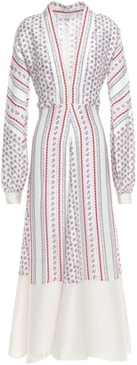 Philosophy di Lorenzo Serafini Tie-back Paneled Printed Satin-twill Midi Dress