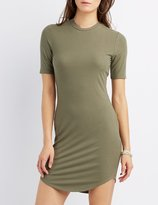 Charlotte Russe Ribbed Crew Neck Bodycon Dress