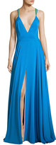 Milly Monroe Strappy Stretch Silk Gown, Blue/Multicolor