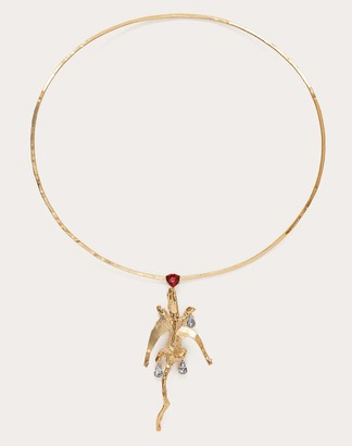 Valentino Metal And Crystal Winged Crocodile Necklace Women Gold Brass 100% OneSize