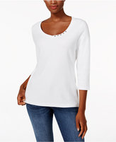 Karen Scott Three-Quarter-Sleeve V-Neck Top, Only at Macy's