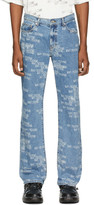 we11done Blue All Over Logo Jeans