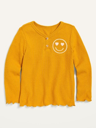 Old Navy Graphic Cozy Rib-Knit Long-Sleeve Henley Top for Toddler Girls