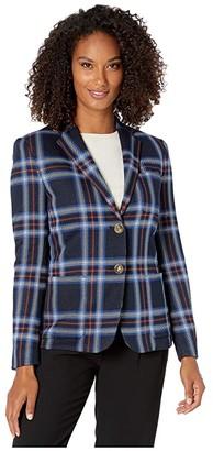 Lauren Ralph Lauren Plaid Jacquard Ponte Blazer (Lauren Navy Multi) Women's Jacket