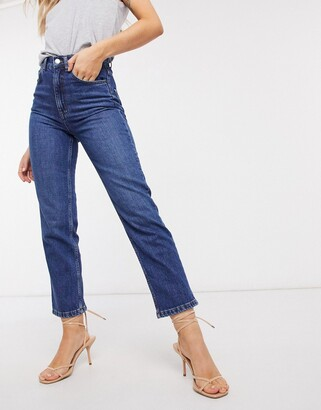 ASOS DESIGN high rise stretch 'slim' straight leg jeans in darkwash