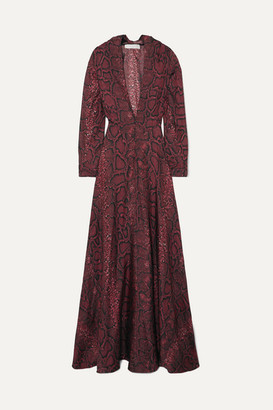 Victoria Beckham Snake-print Silk-satin Gown - Burgundy