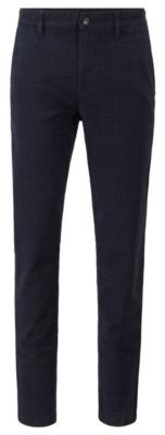 HUGO BOSS Tapered Fit Pants In Stretch Fabric With Windowpane Check - Dark Blue