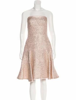 Oscar de la Renta 2017 Strapless Metallic Dress Pink