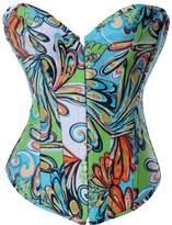 Alivila.Y Fashion Corset Alivila.Y Fashion Sexy Vintage Floral Denim Corset 2767-Blue-XXL-FBA