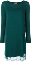 Twin-Set lace-trimmed jersey dress - women - Viscose/Wool - S
