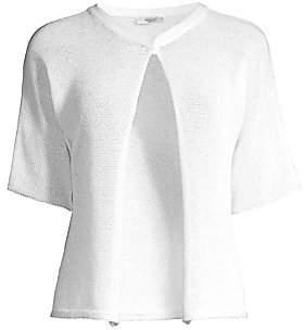 Peserico Women's Short-Sleeve Cropped Crochet Cardigan