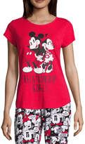 DISNEY MICKEY MOUSE Disney Short Sleeve Scoop Neck Pajama Top-Juniors